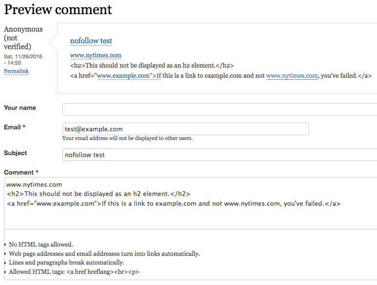 screenshot of comment preview