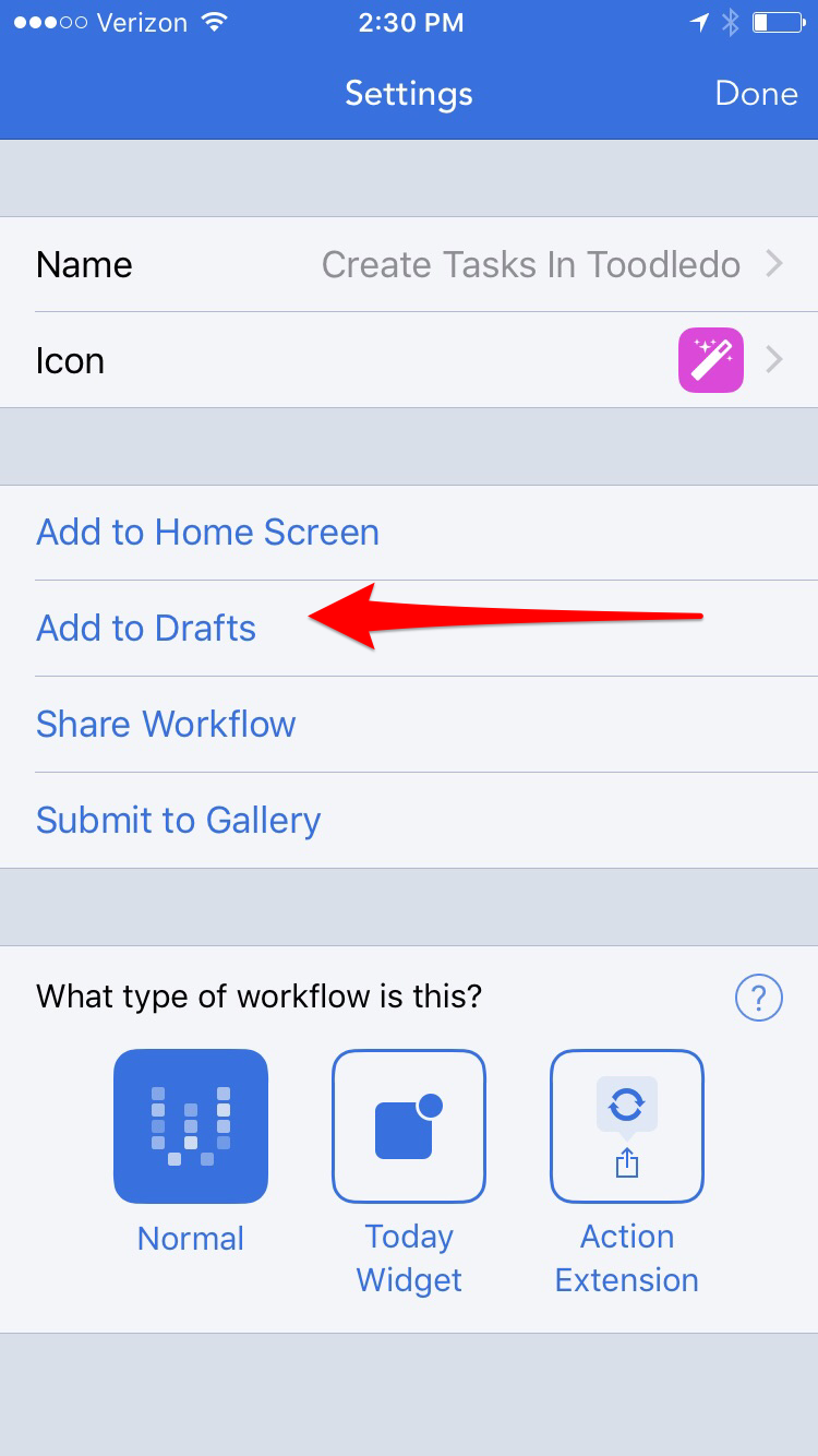 Worklow app settings page showing Add to Drafts option