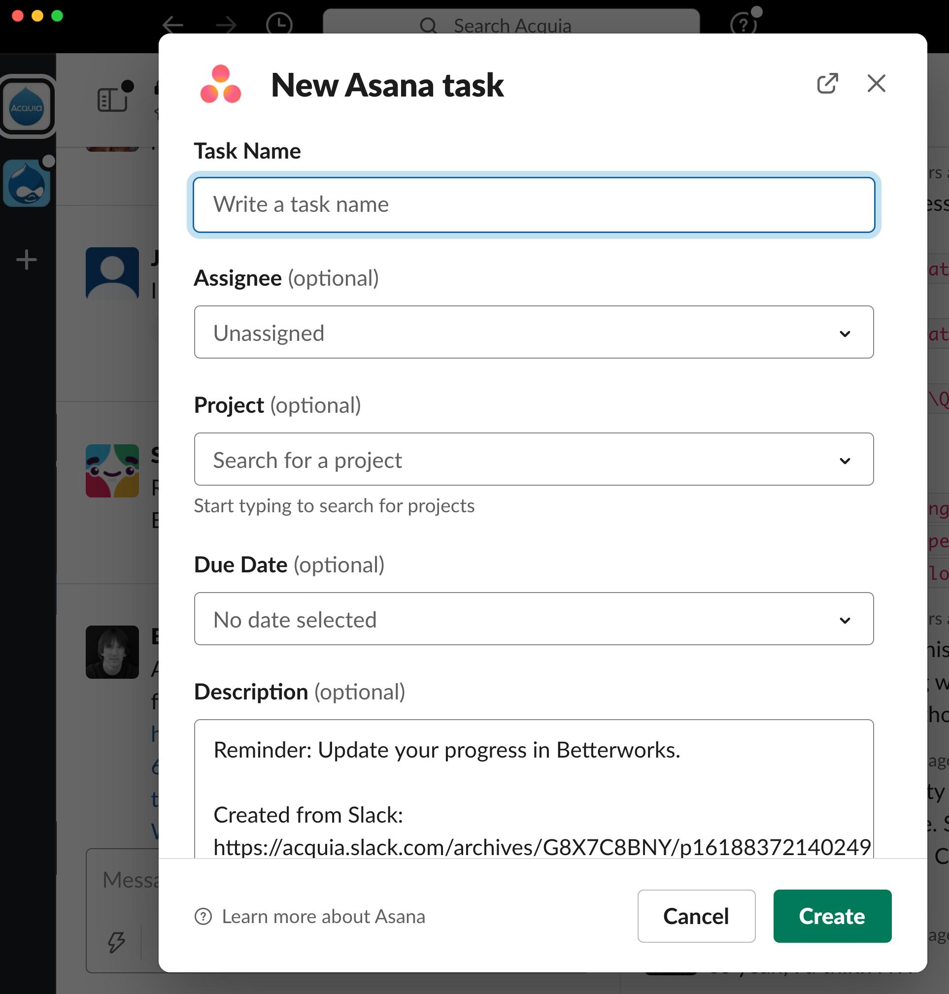 Asana Slack integration screenshot